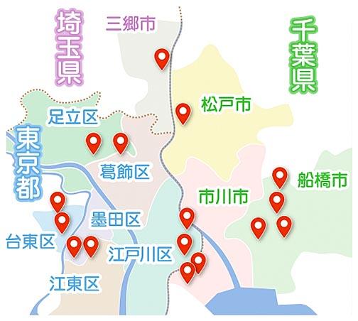 i-care鍼灸整骨院グループが運営している整骨院がある地図